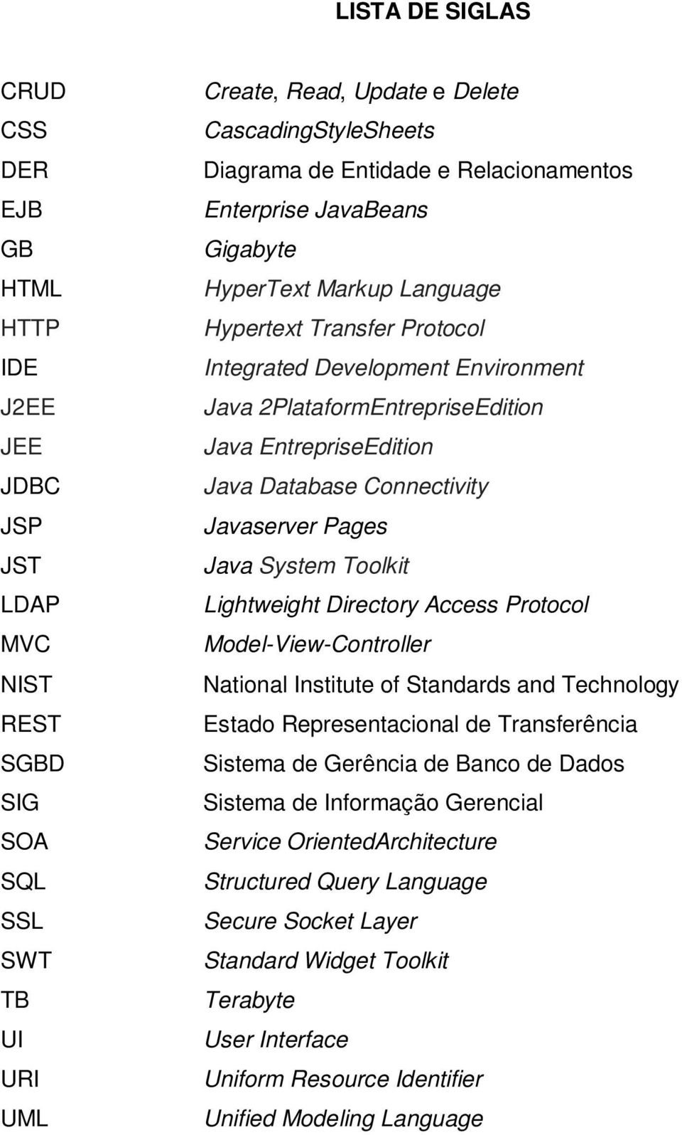 EntrepriseEdition Java Database Connectivity Javaserver Pages Java System Toolkit Lightweight Directory Access Protocol Model-View-Controller National Institute of Standards and Technology Estado