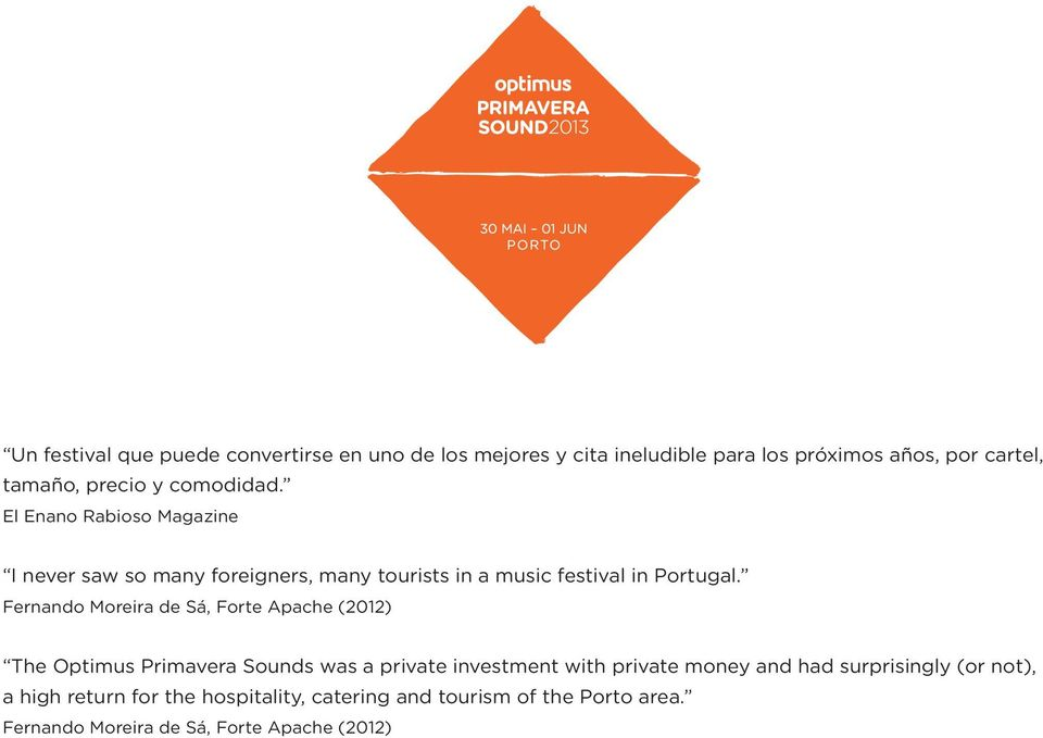 Fernando Moreira de Sá, Forte Apache (2012) The Optimus Primavera Sounds was a private investment with private money and had