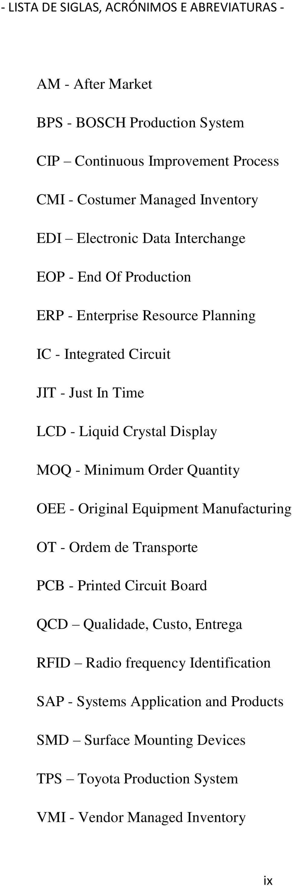 Crystal Display MOQ - Minimum Order Quantity OEE - Original Equipment Manufacturing OT - Ordem de Transporte PCB - Printed Circuit Board QCD Qualidade, Custo,