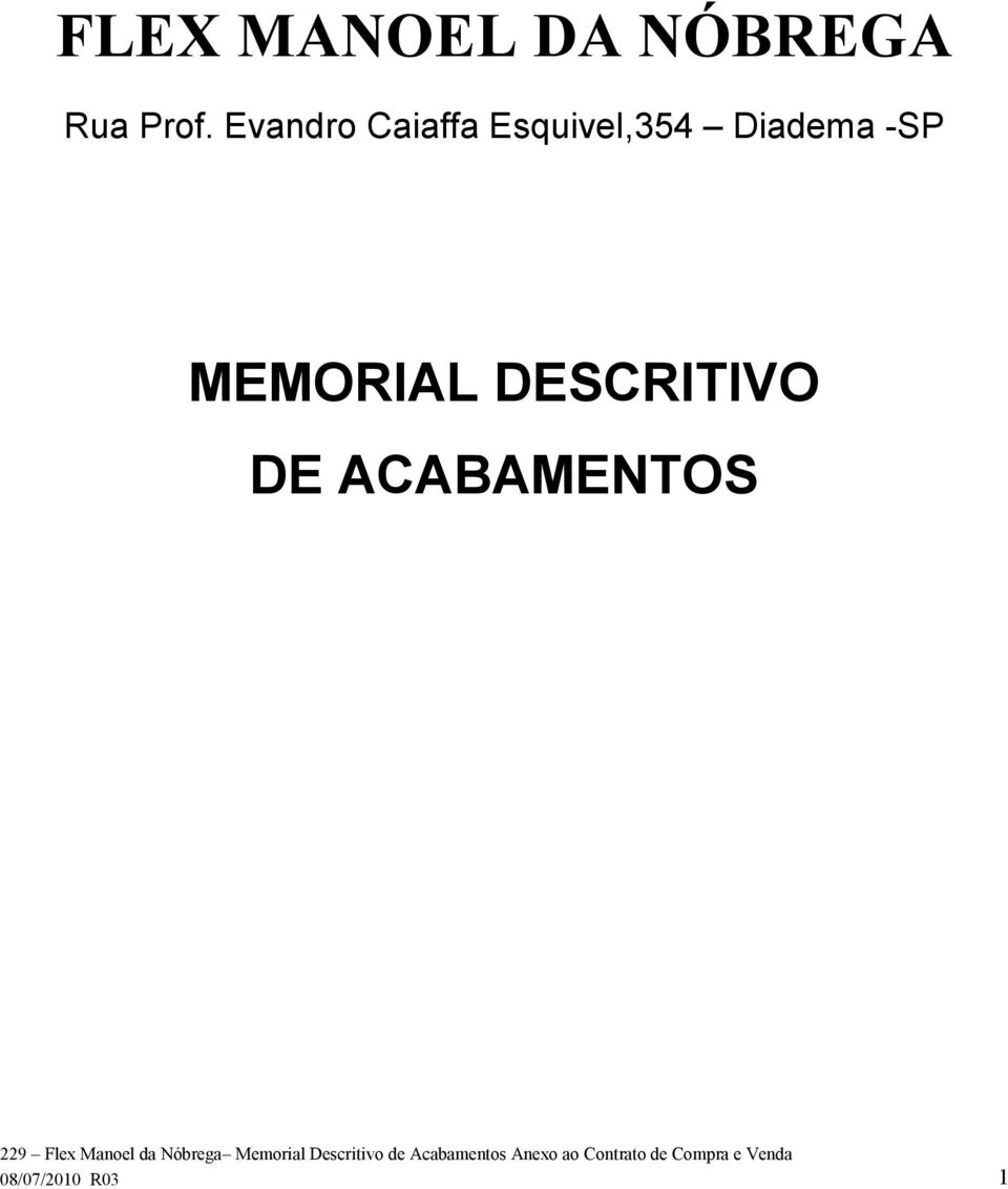 Diadema -SP MEMORIAL DESCRITIVO