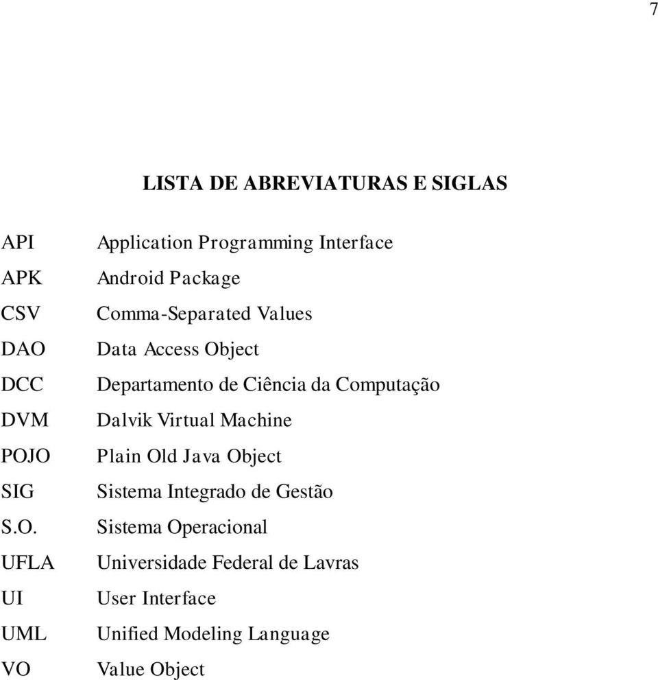 O SIG S.O. UFLA UI UML VO Application Programming Interface Android Package Comma-Separated Values