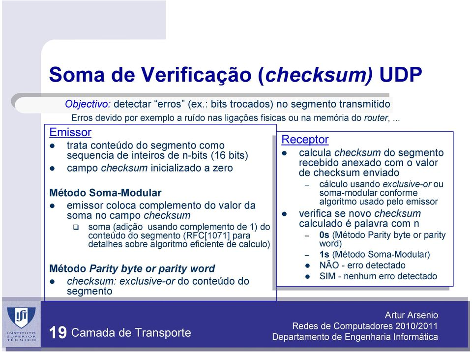 (adição usando complemento de 1) do conteúdo do segmento (RFC[1071] para detalhes sobre algoritmo eficiente de calculo) Método Parity byte or parity word checksum: exclusive-or do conteúdo do