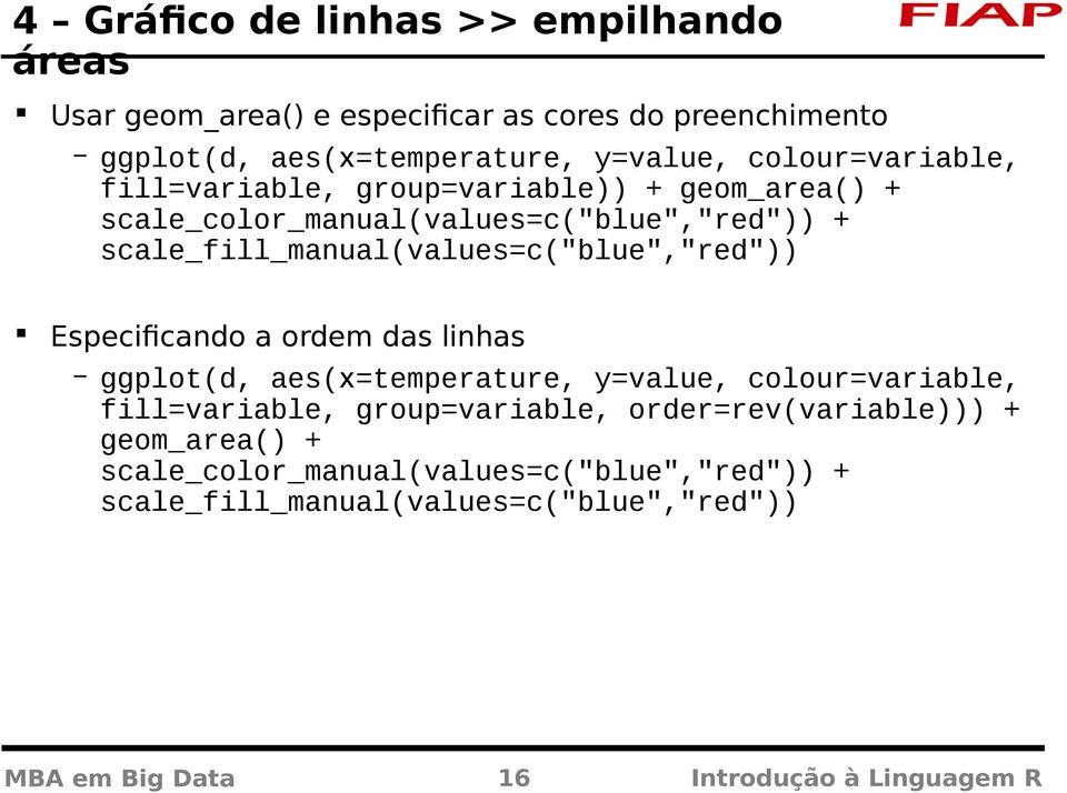 "scale_fill_manual(values=c(""blue"",""red"")) Especificando a ordem das linhas ggplot(d, aes(x=temperature, y=value, colour=variable,"