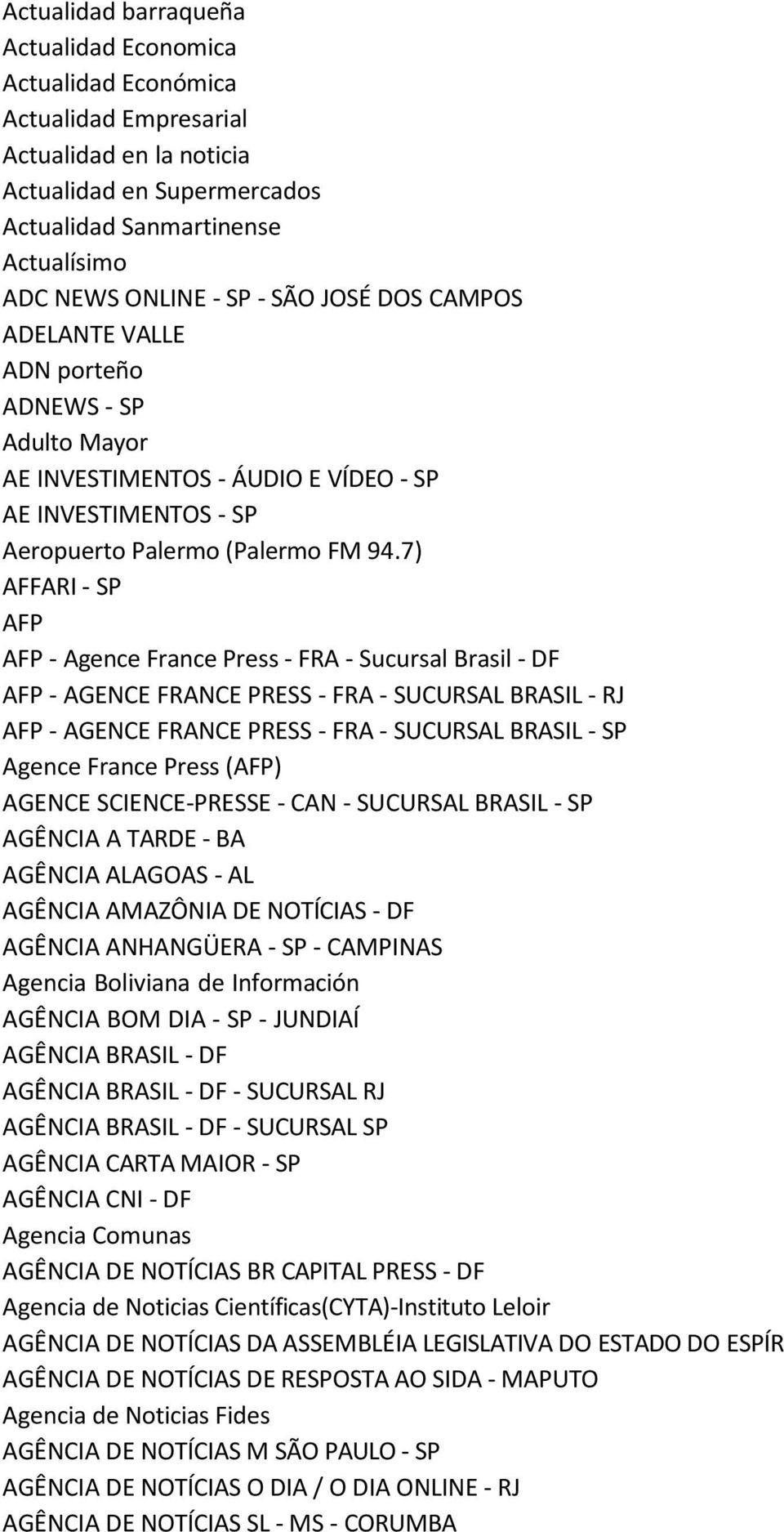 7) AFFARI - SP AFP AFP - Agence France Press - FRA - Sucursal Brasil - DF AFP - AGENCE FRANCE PRESS - FRA - SUCURSAL BRASIL - RJ AFP - AGENCE FRANCE PRESS - FRA - SUCURSAL BRASIL - SP Agence France