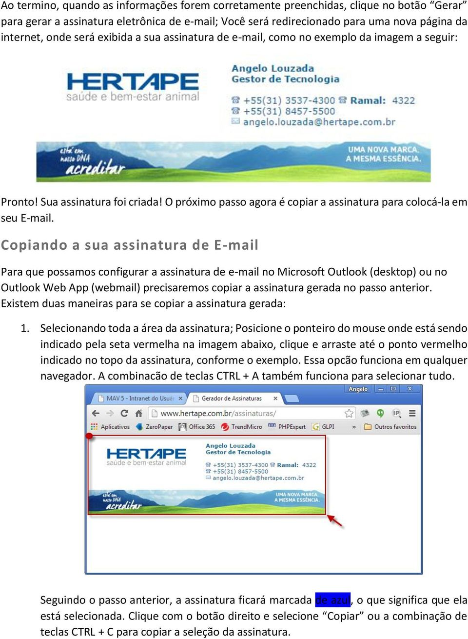 Copiando a sua assinatura de E-mail Para que possamos configurar a assinatura de e-mail no Microsoft Outlook (desktop) ou no Outlook Web App (webmail) precisaremos copiar a assinatura gerada no passo