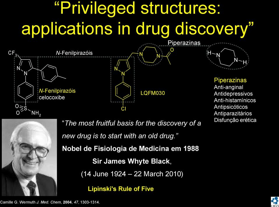 obel de Fisiologia de Medicina em 1988 Sir James Whyte Black, (14 June 1924 22 March 2010) Lipinski's Rule of Five
