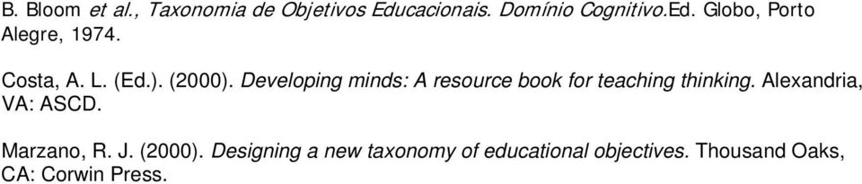 Developing minds: A resource book for teaching thinking. Alexandria, VA: ASCD.