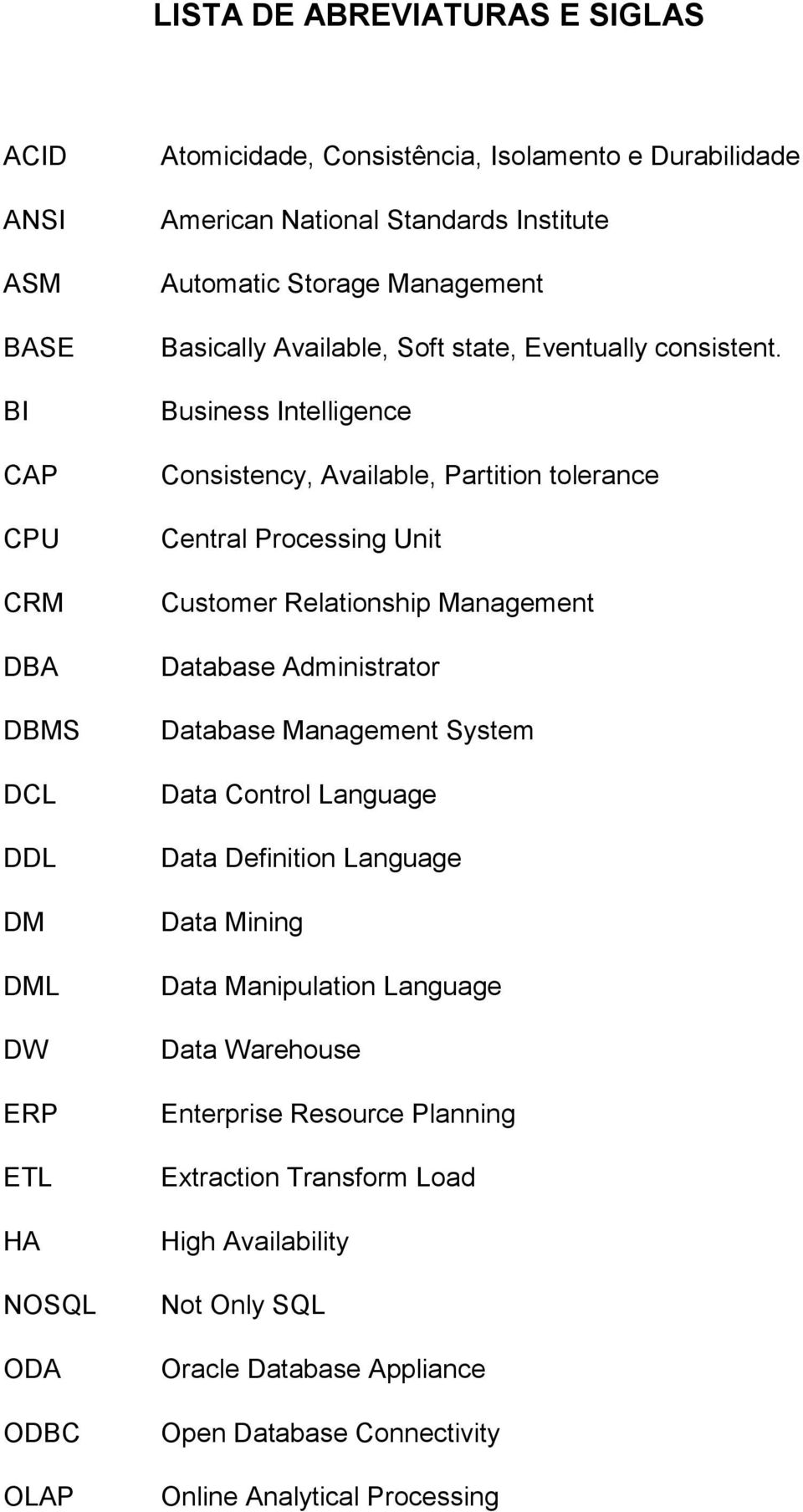 Business Intelligence Consistency, Available, Partition tolerance Central Processing Unit Customer Relationship Management Database Administrator Database Management System Data