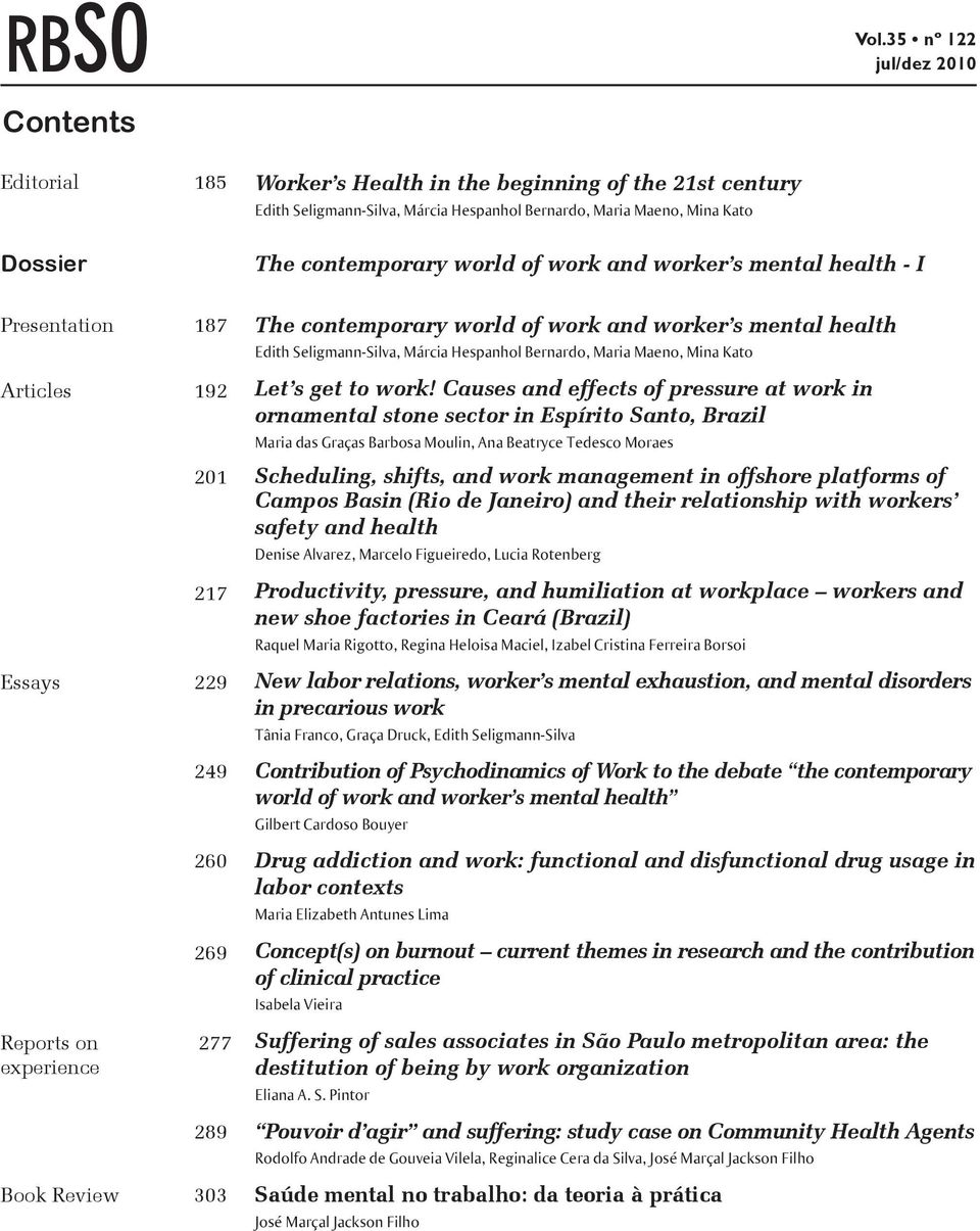 world of work and worker s mental health - I Presentation 187 Articles 192 201 217 Essays 229 249 260 269 Reports on 277 experience 289 Book Review 303 The contemporary world of work and worker s