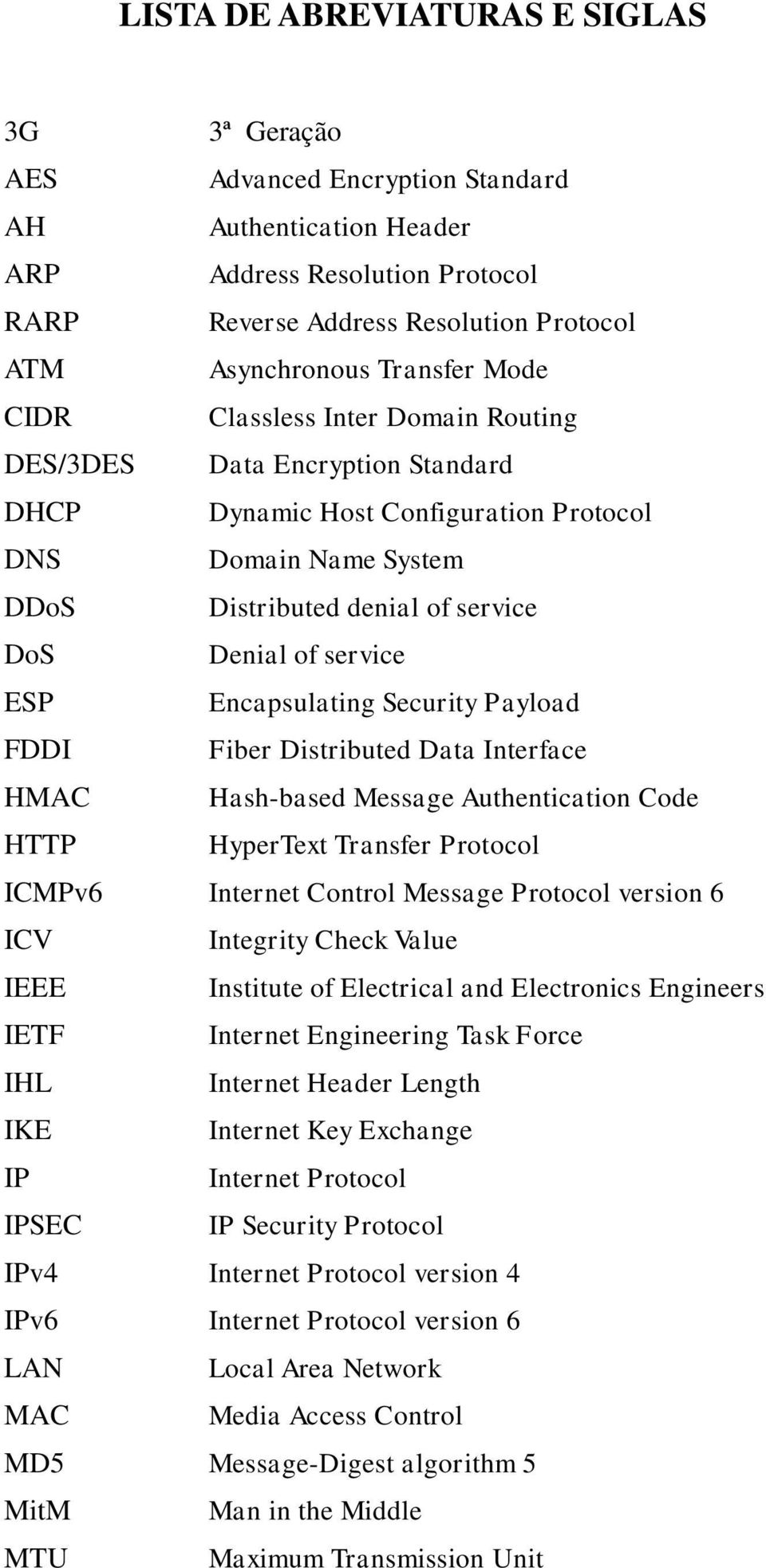 service ESP Encapsulating Security Payload FDDI Fiber Distributed Data Interface HMAC Hash-based Message Authentication Code HTTP HyperText Transfer Protocol ICMPv6 Internet Control Message Protocol