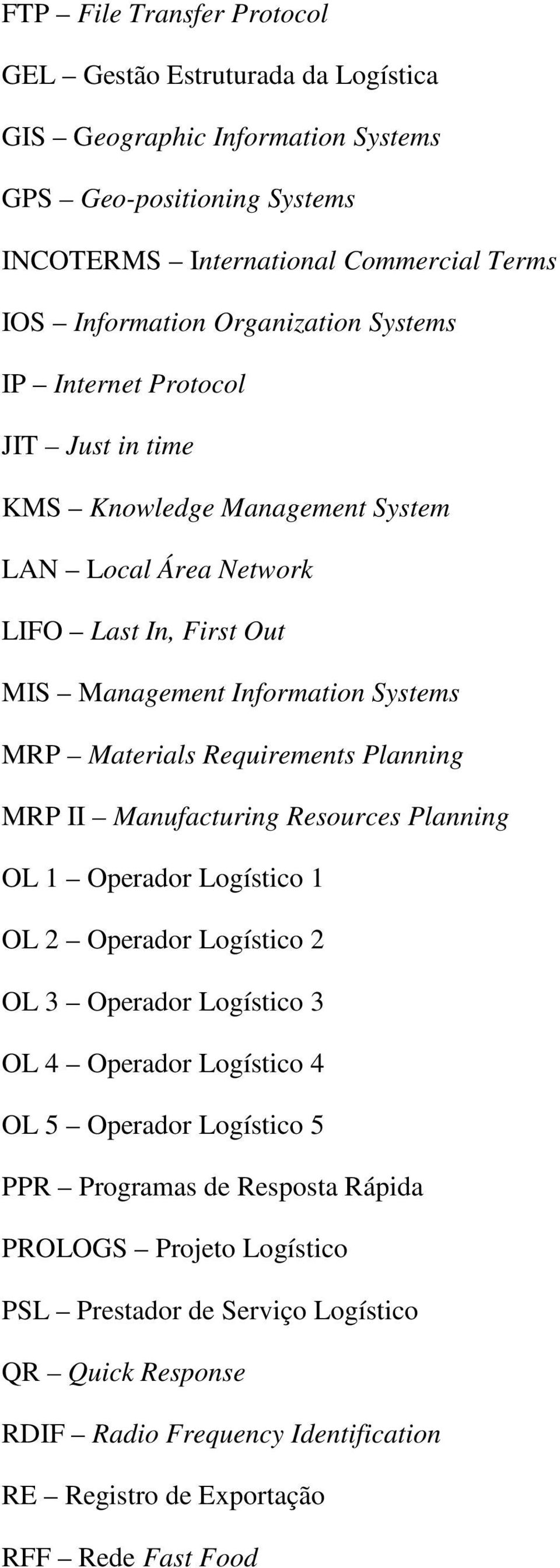 Requirements Planning MRP II Manufacturing Resources Planning OL 1 Operador Logístico 1 OL 2 Operador Logístico 2 OL 3 Operador Logístico 3 OL 4 Operador Logístico 4 OL 5 Operador