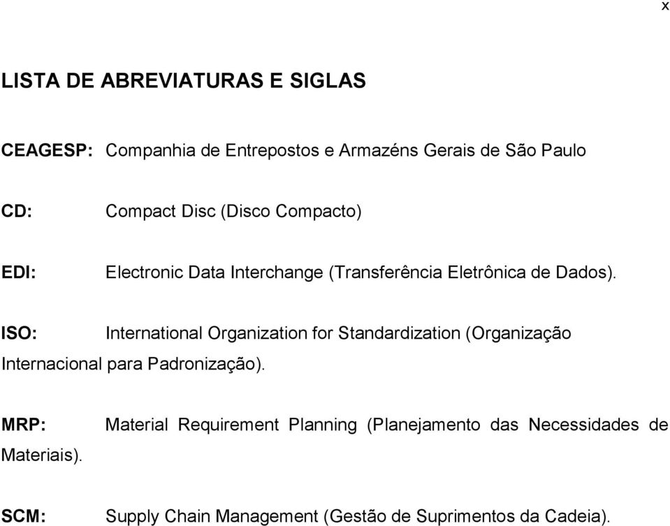 ISO: International Organization for Standardization (Organização Internacional para Padronização).