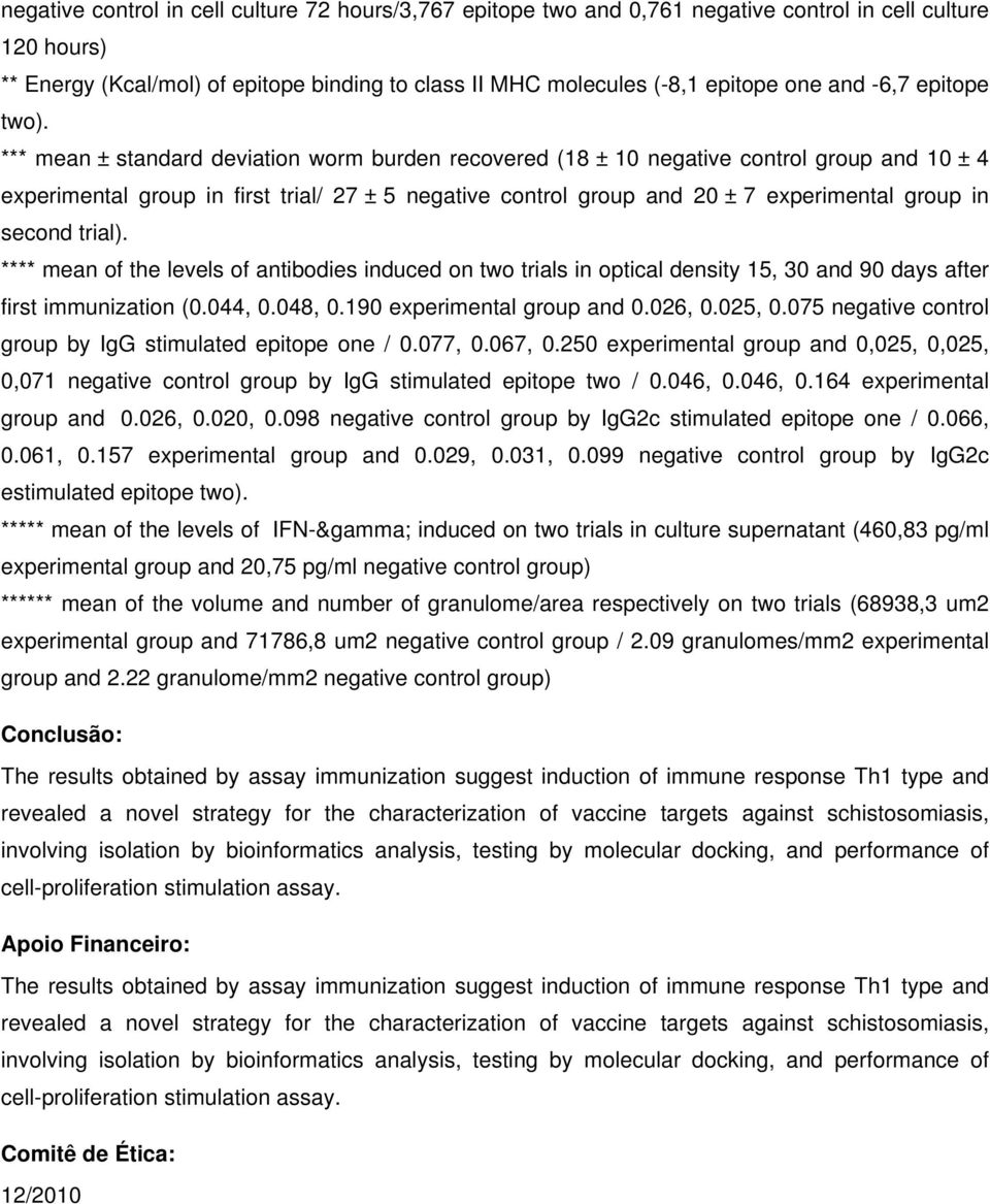 *** mean ± standard deviation worm burden recovered (18 ± 10 negative control group and 10 ± 4 experimental group in first trial/ 27 ± 5 negative control group and 20 ± 7 experimental group in second