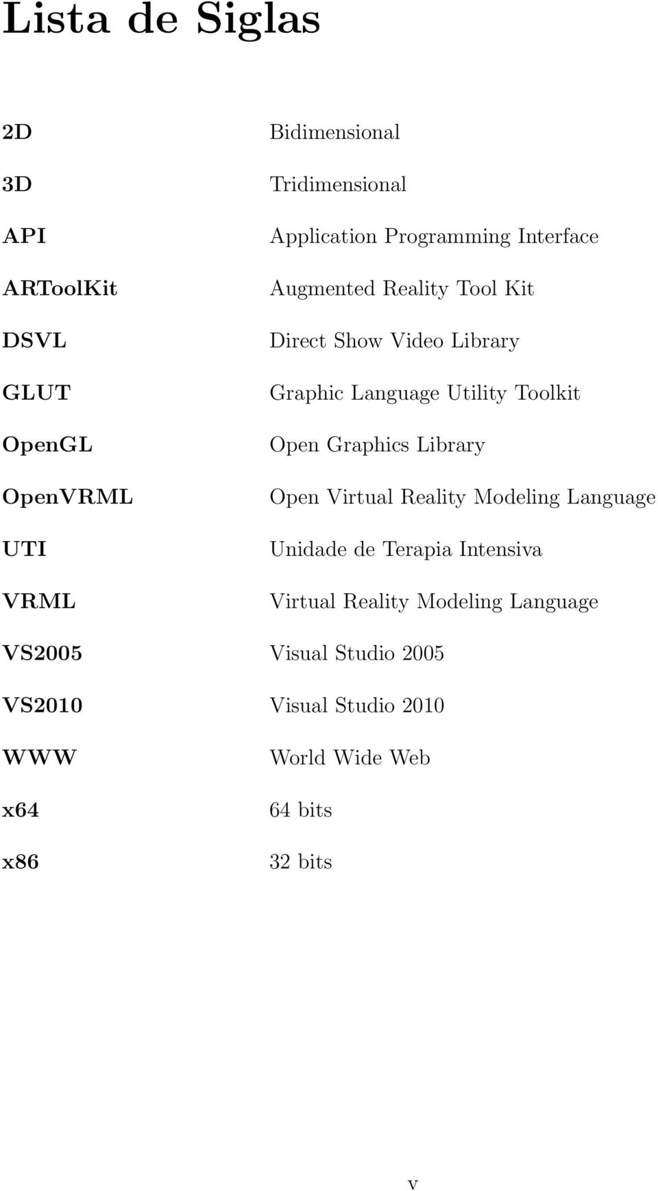 Utility Toolkit Open Graphics Library Open Virtual Reality Modeling Language Unidade de Terapia Intensiva