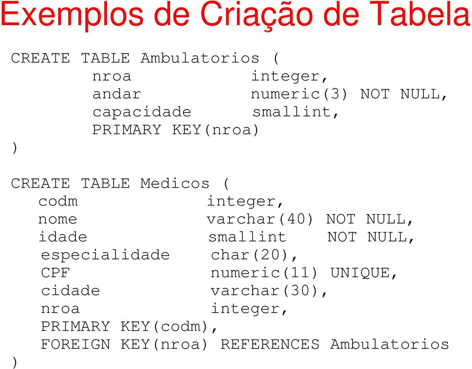varchar(40) NOT NULL, idade smallint NOT NULL, especialidade char(20), CPF numeric(11)