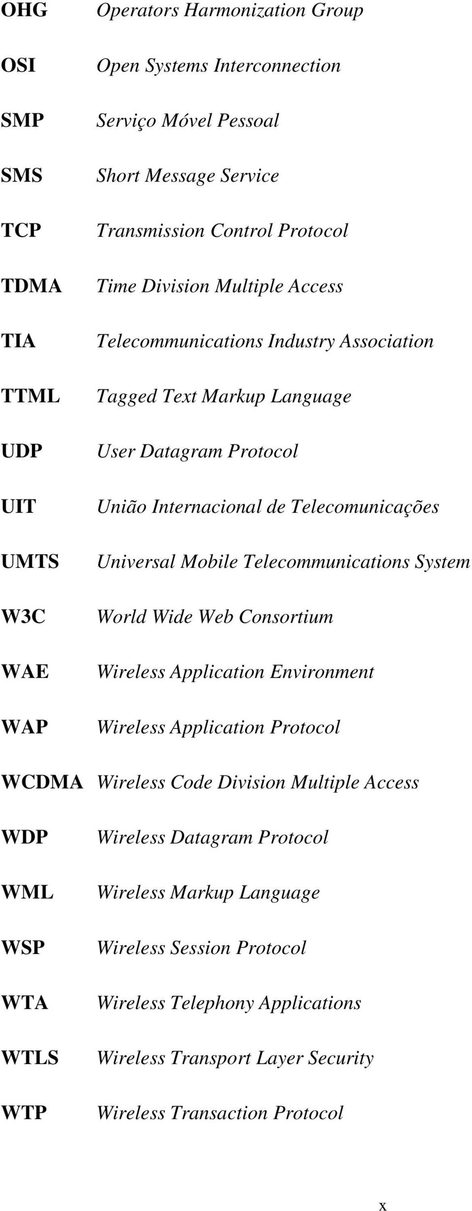Mobile Telecommunications System World Wide Web Consortium Wireless Application Environment Wireless Application Protocol WCDMA Wireless Code Division Multiple Access WDP WML WSP WTA