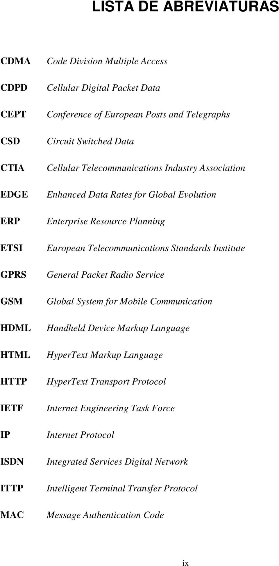 European Telecommunications Standards Institute General Packet Radio Service Global System for Mobile Communication Handheld Device Markup Language HyperText Markup Language