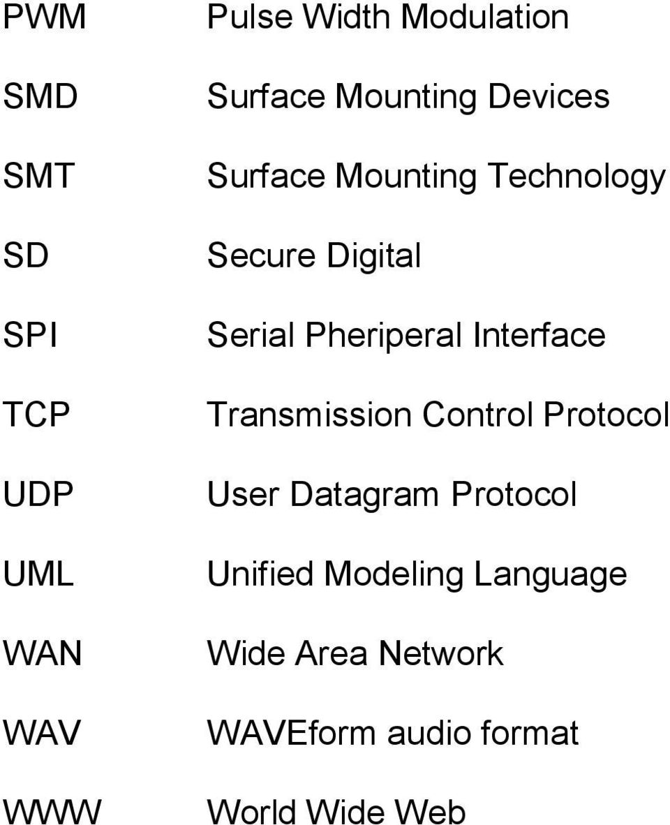 Pheriperal Interface Transmission Control Protocol User Datagram Protocol