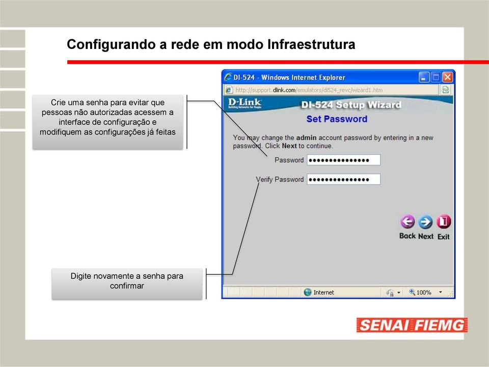 a interface de configuração e modifiquem as