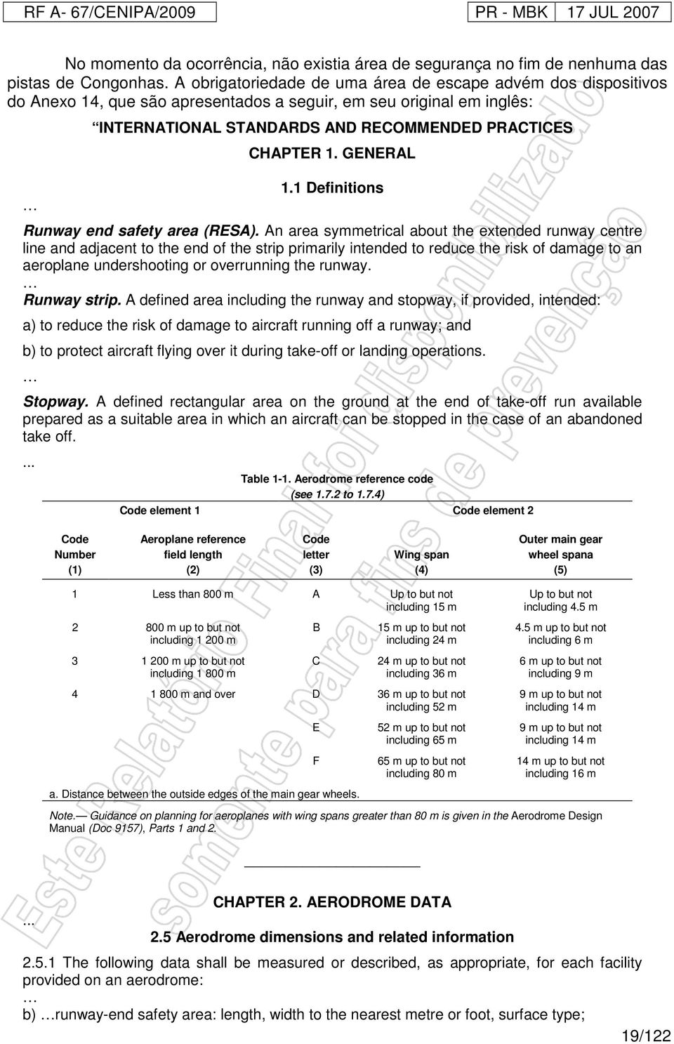 GENERAL 1.1 Definitions Runway end safety area (RESA).