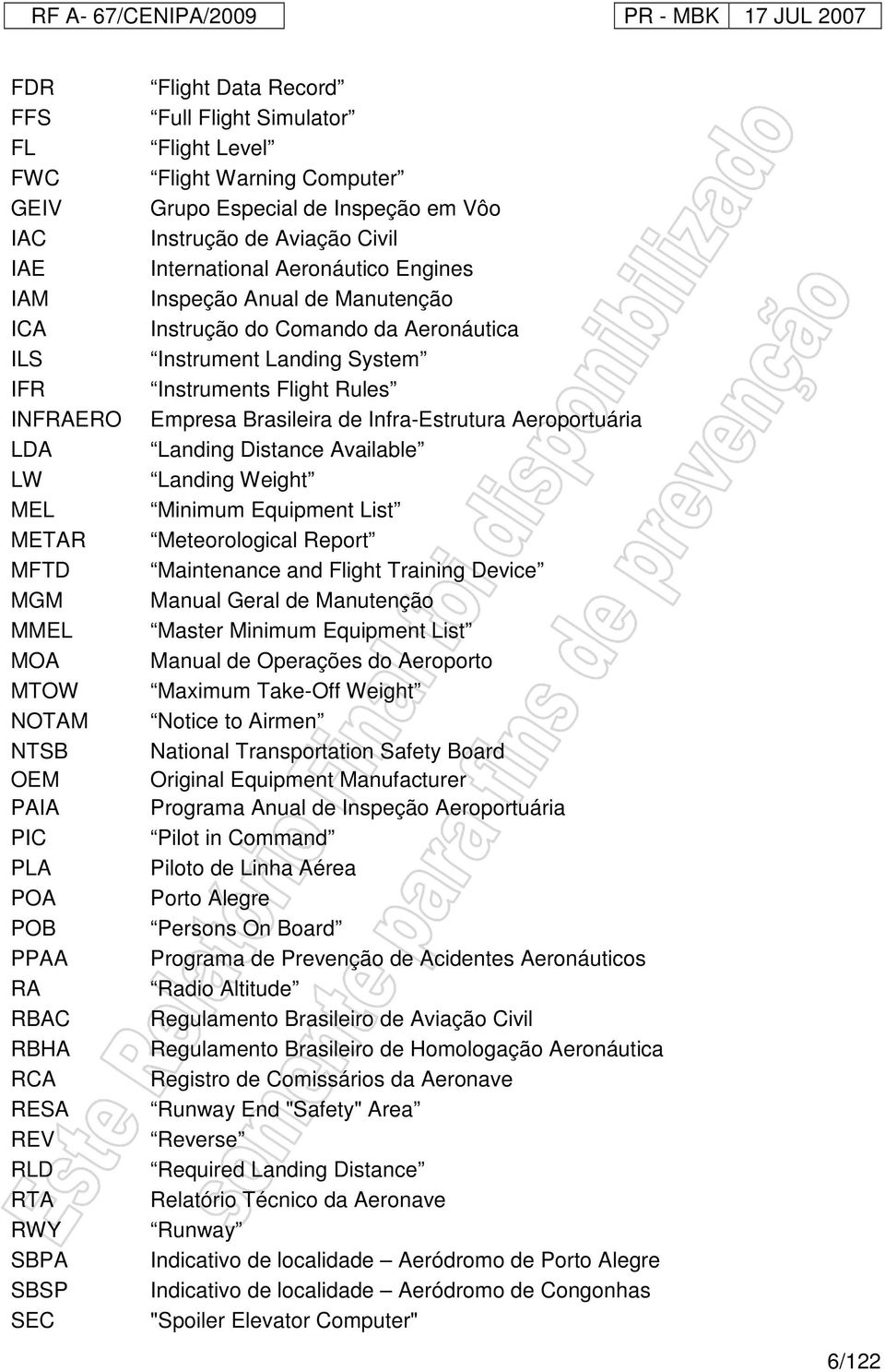do Comando da Aeronáutica Instrument Landing System Instruments Flight Rules Empresa Brasileira de Infra-Estrutura Aeroportuária Landing Distance Available Landing Weight Minimum Equipment List