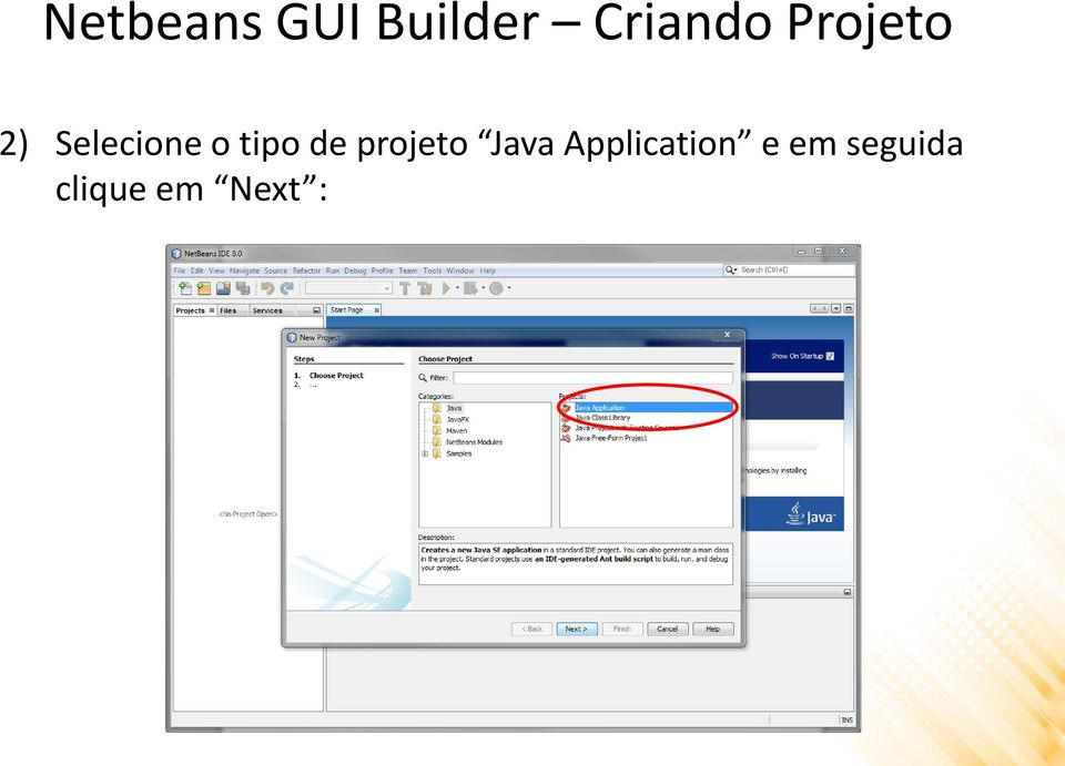 de projeto Java Application