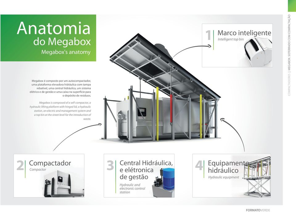 SOTERRADO COM COMPACTAçãO Megabox is composed of a self-compactor, a hydraulic lifting platform with hinged lid, a hydraulic station, an electric and management system and a