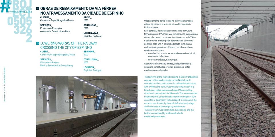 2 OBRAS DE REBAIXAMTO DA VIA FÉRREA NO ATRAVESSAMTO DA CIDADE DE ESPINHO CLITE_ Consórcio Sopol/Dragados/Tecsa Projecto de Execução Assessoria Geotécnica à Obra LOWERING WORKS OF THE RAILWAY CROSSING