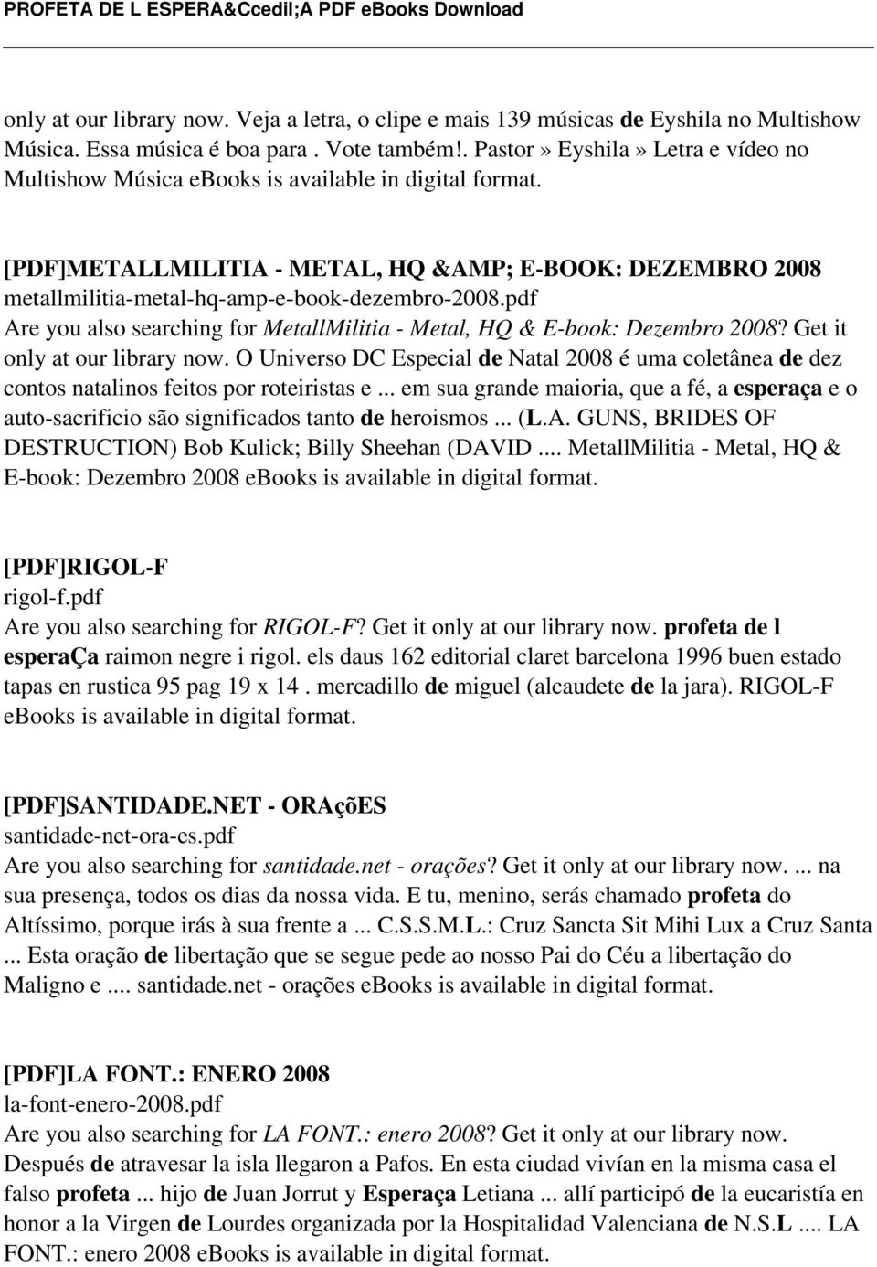 pdf Are you also searching for MetallMilitia - Metal, HQ & E-book: Dezembro 2008? Get it only at our library now.