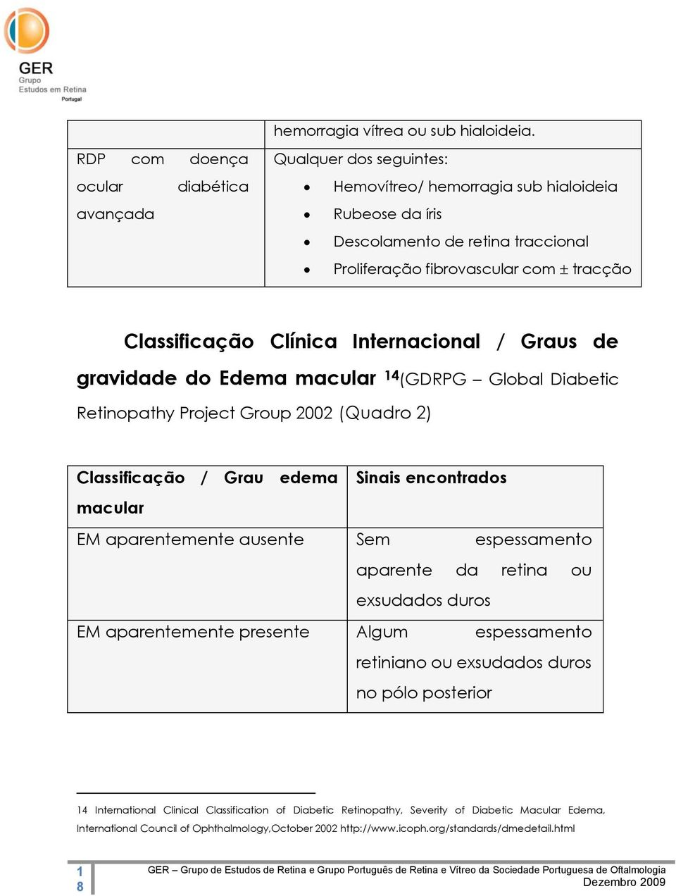 Classificação Clínica Internacional / Graus de gravidade do Edema macular 14 (GDRPG Global Diabetic Retinopathy Project Group 2002 (Quadro 2) Classificação / Grau edema Sinais encontrados macular EM