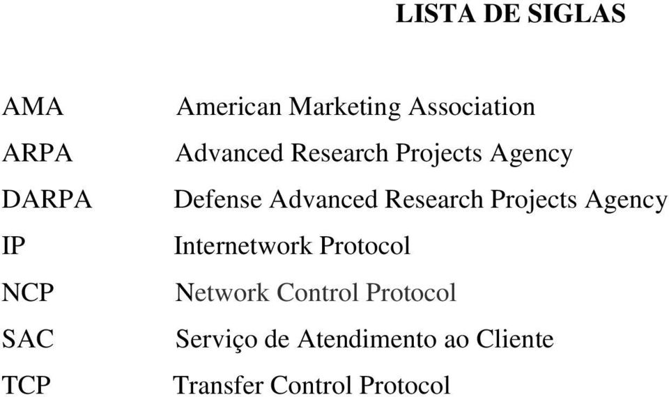 Research Projects Agency Internetwork Protocol Network Control