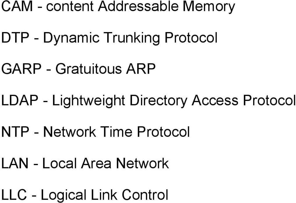 Lightweight Directory Access Protocol NTP - Network