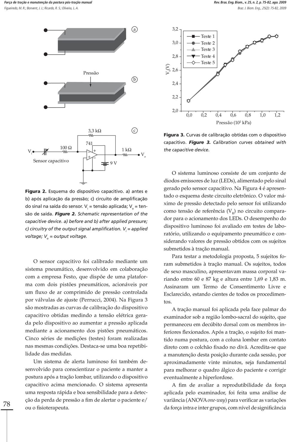Curvas de calibração obtidas com o dispositivo capacitivo. Figure 3. Calibration curves obtained with the capacitive device. 78 Figura 2. Esquema do dispositivo capacitivo.