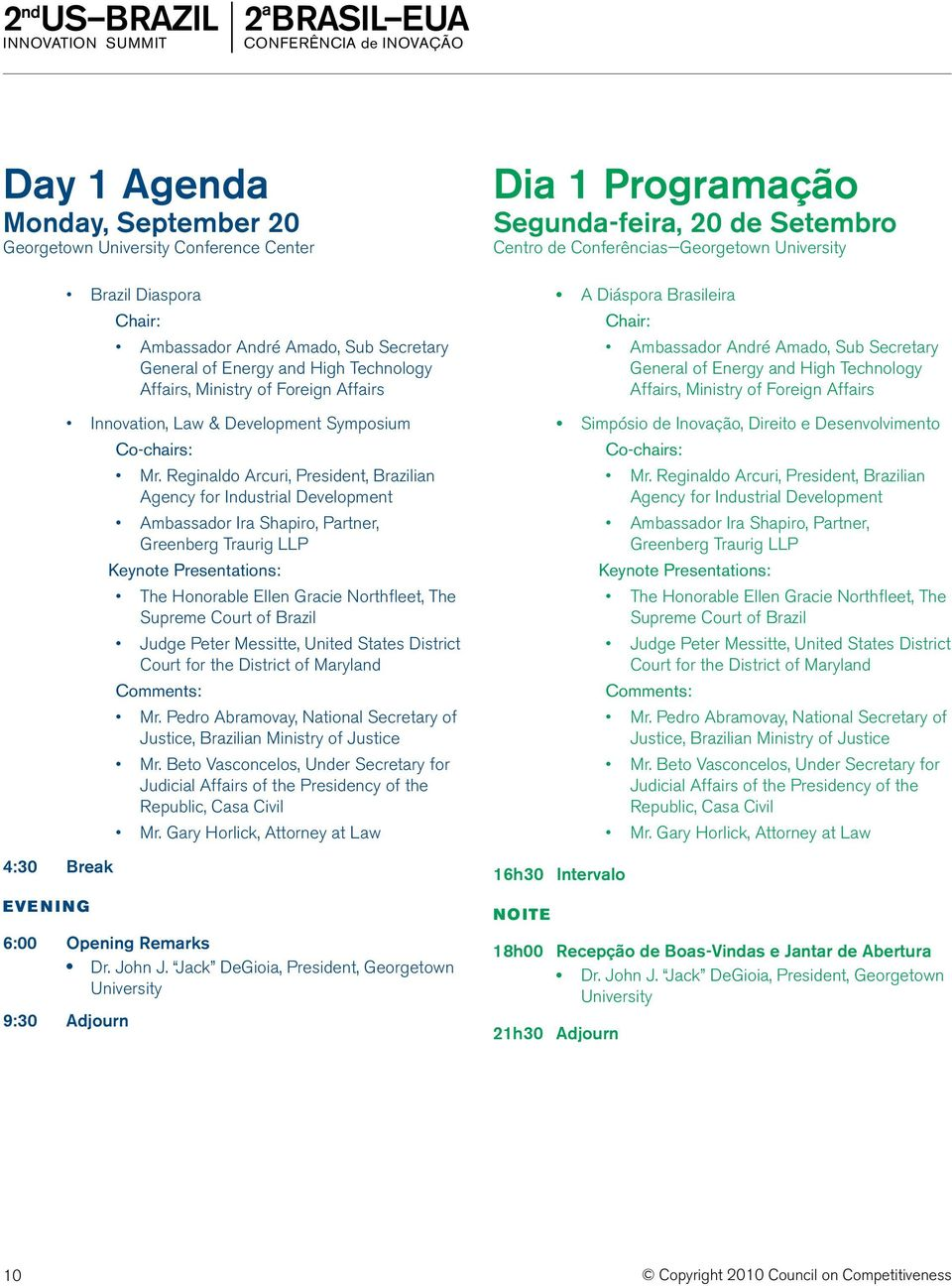 Reginaldo Arcuri, President, Brazilian Agency for Industrial Development Ambassador Ira Shapiro, Partner, Greenberg Traurig LLP Keynote Presentations: The Honorable Ellen Gracie Northfleet, The