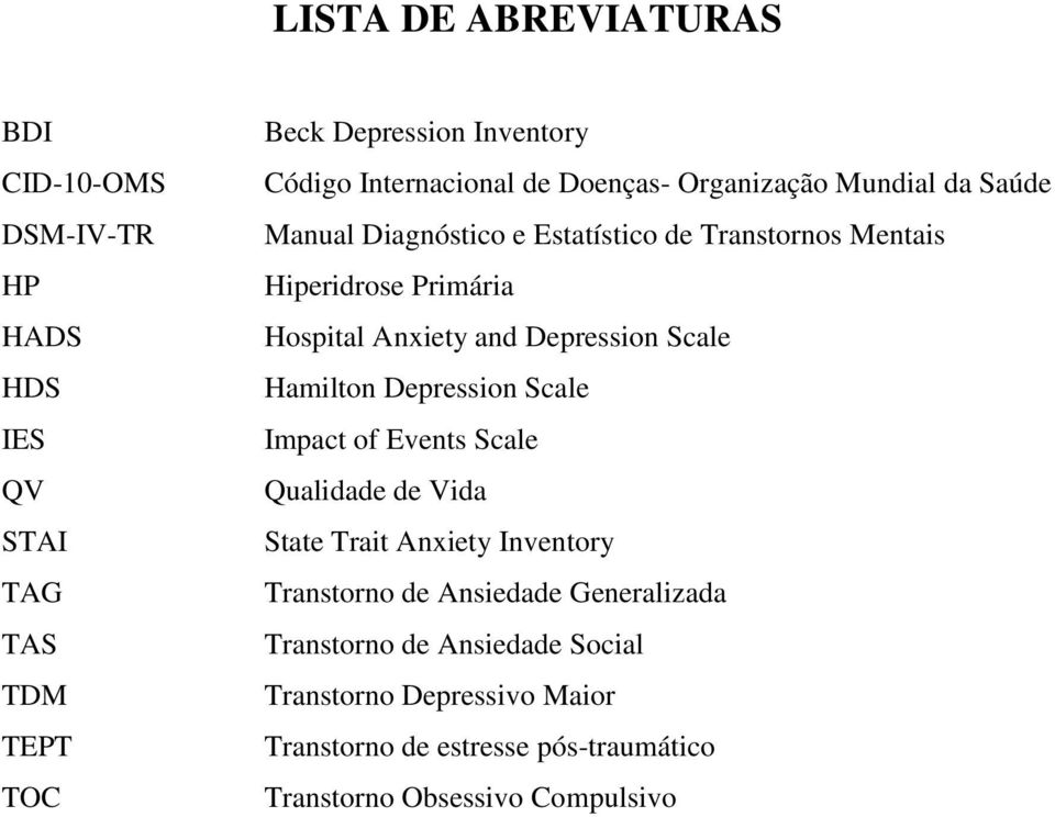 Depression Scale Hamilton Depression Scale Impact of Events Scale Qualidade de Vida State Trait Anxiety Inventory Transtorno de Ansiedade