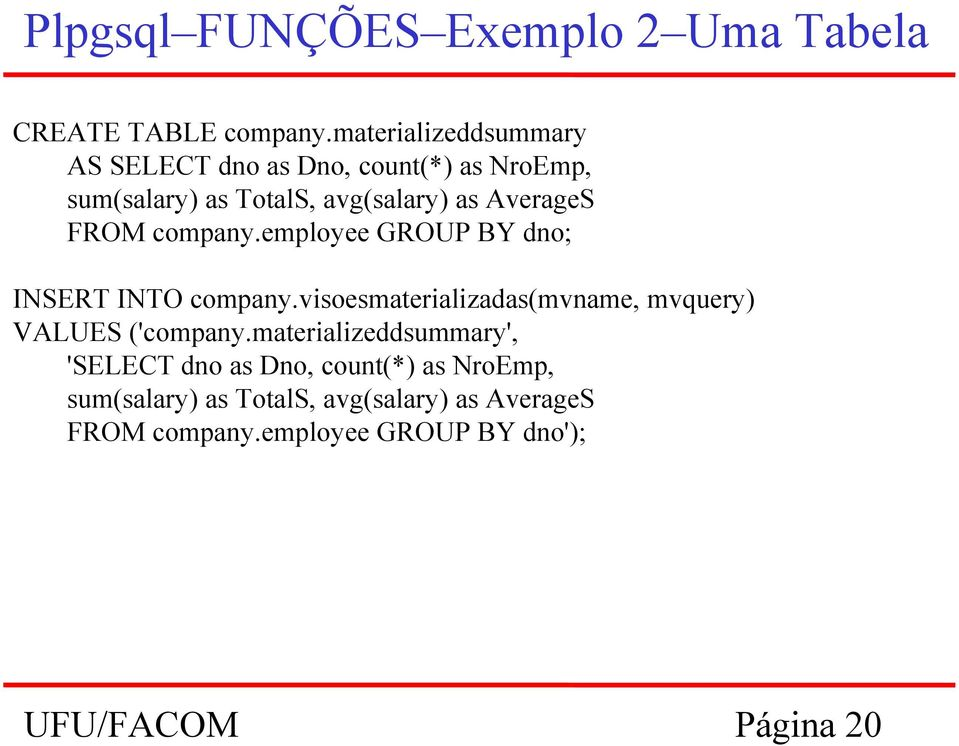 FROM company.employee GROUP BY dno; INSERT INTO company.visoesmaterializadas(mvname, mvquery) VALUES ('company.