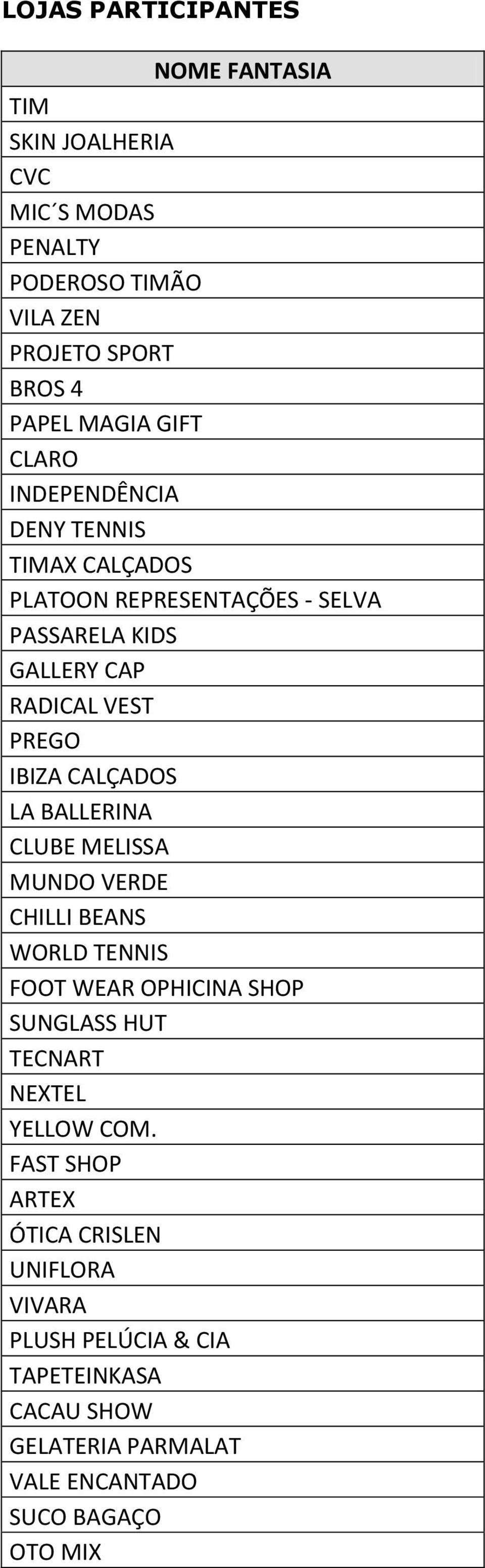 CALÇADOS LA BALLERINA CLUBE MELISSA MUNDO VERDE CHILLI BEANS WORLD TENNIS FOOT WEAR OPHICINA SHOP SUNGLASS HUT TECNART NEXTEL YELLOW COM.