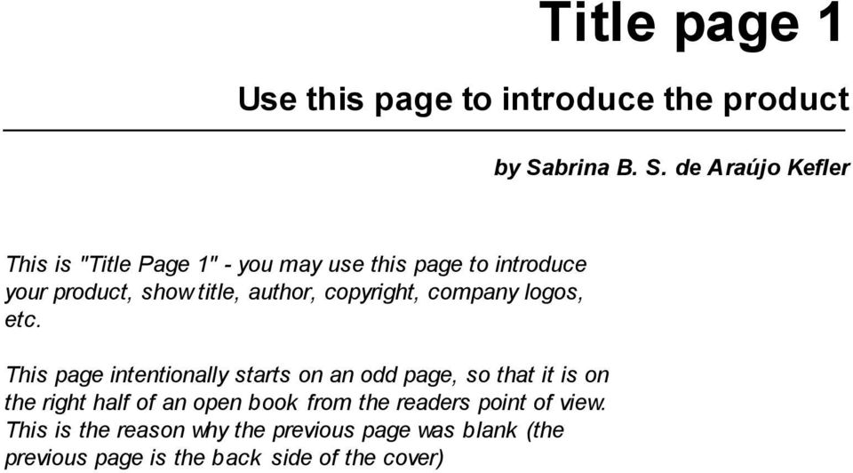 "de Araújo Kefler This is ""Title Page 1"" - you may use this page to introduce your product, show title,"