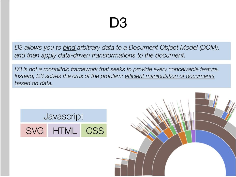 D3 is not a monolithic framework that seeks to provide every conceivable feature.