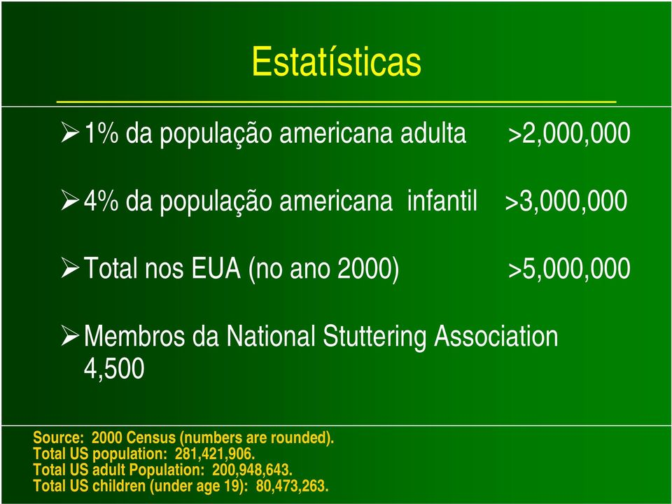 Stuttering Association 4,500 Source: 2000 Census (numbers are rounded).