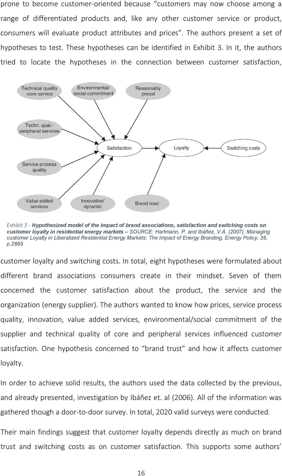 In it, the authors tried to locate the hypotheses in the connection between customer satisfaction, Exhibit 3 - Hypothesized model of the impact of brand associations, satisfaction and switching costs