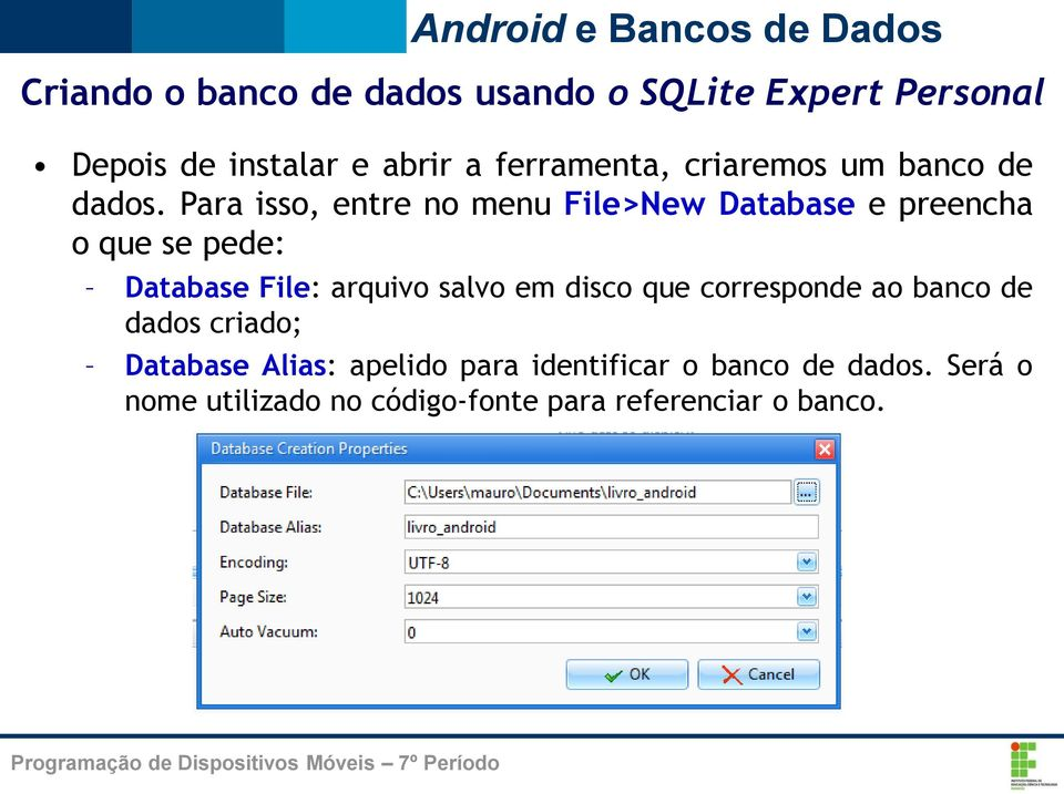Para isso, entre no menu File>New Database e preencha o que se pede: Database File: arquivo salvo