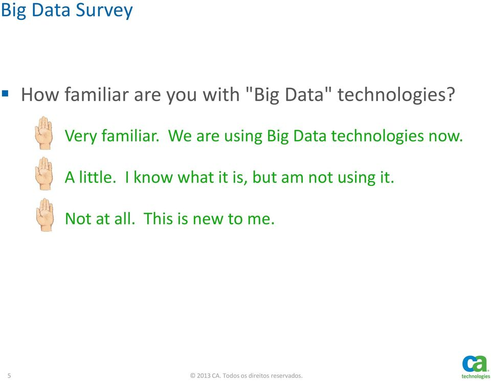 We are using Big Data technologies now. B. A little.