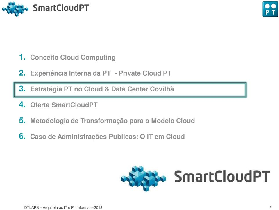 Estratégia PT no Cloud & Data Center Covilhã 4. Oferta SmartCloudPT 5.
