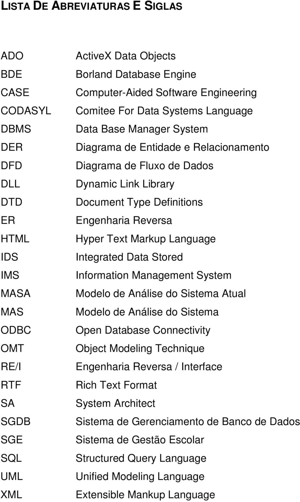 Engenharia Reversa Hyper Text Markup Language Integrated Data Stored Information Management System Modelo de Análise do Sistema Atual Modelo de Análise do Sistema Open Database Connectivity Object