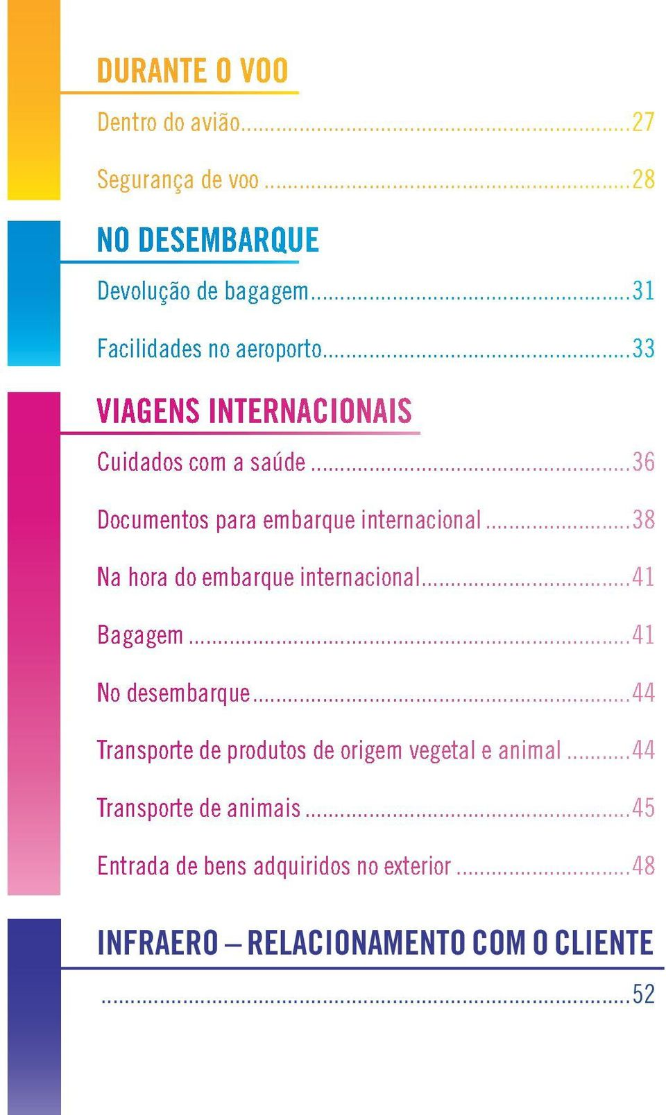 ..36 Documentos para embarque internacional...38 Na hora do embarque internacional...41 Bagagem-...41 No desembarque.