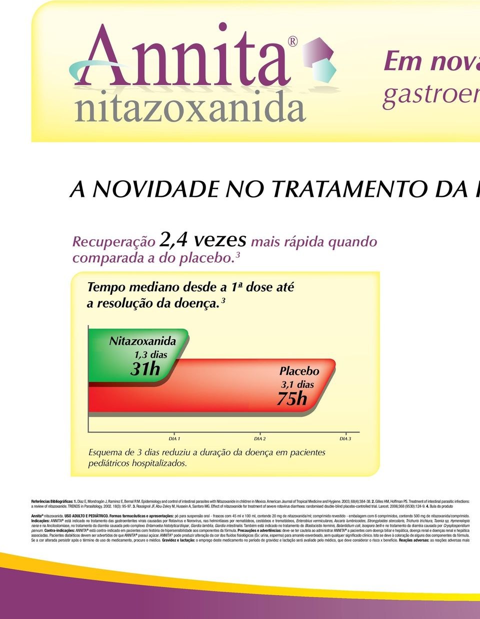 Diaz E, Mondragón J, Ramirez E, Bernal R M. Epidemiology and control of intestinal parasites with Nitazoxanide in children in Mexico. American Journal of Tropical Medicine and Hygiene.