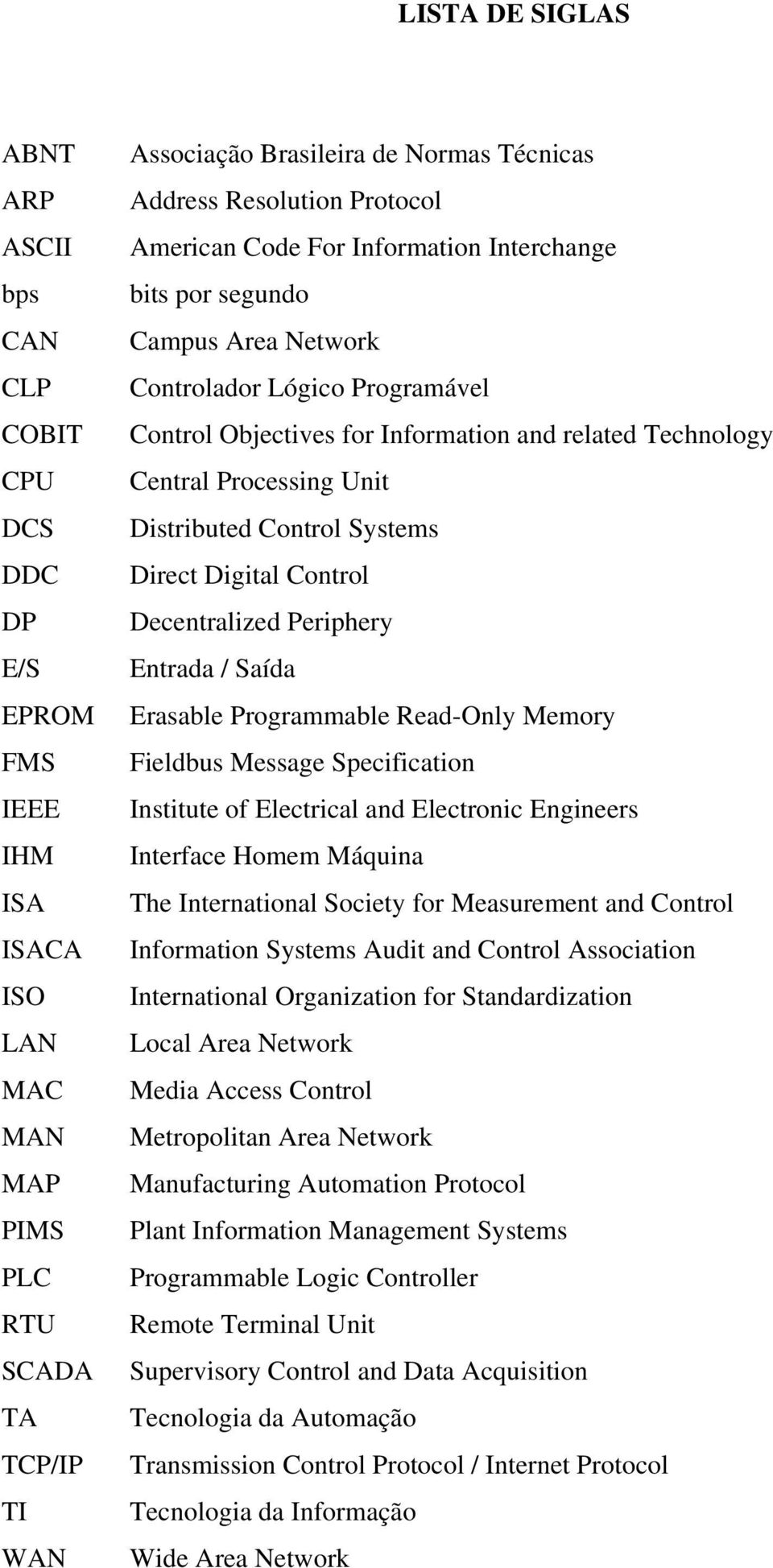 Central Processing Unit Distributed Control Systems Direct Digital Control Decentralized Periphery Entrada / Saída Erasable Programmable Read-Only Memory Fieldbus Message Specification Institute of