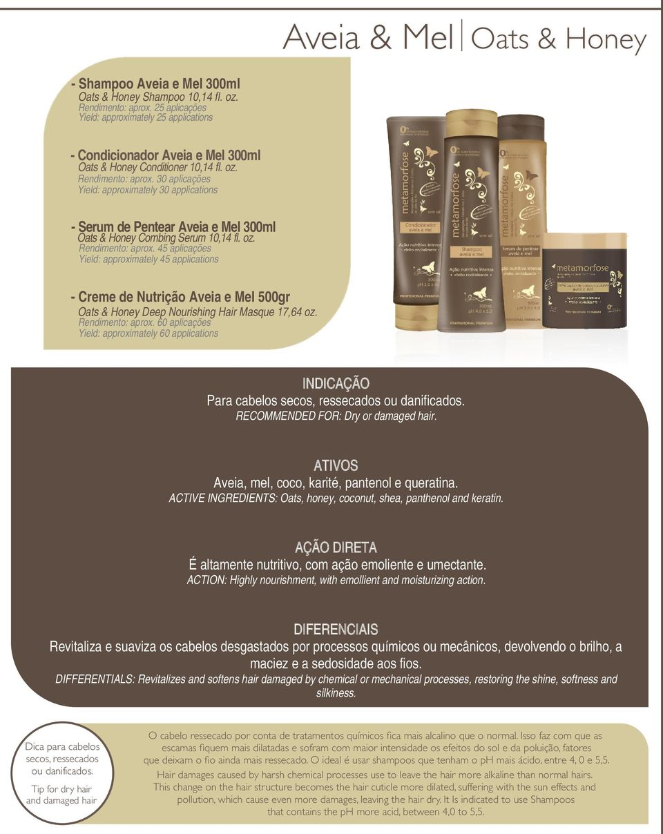 oz. Rendimento: aprox. 45 aplicações Yield: approximately 45 applications - Creme de Nutrição Aveia e Mel 500gr Oats & Honey Deep Nourishing Hair Masque 17,64 oz. Rendimento: aprox. 60 aplicações Yield: approximately 60 applications Para cabelos secos, ressecados ou danificados.