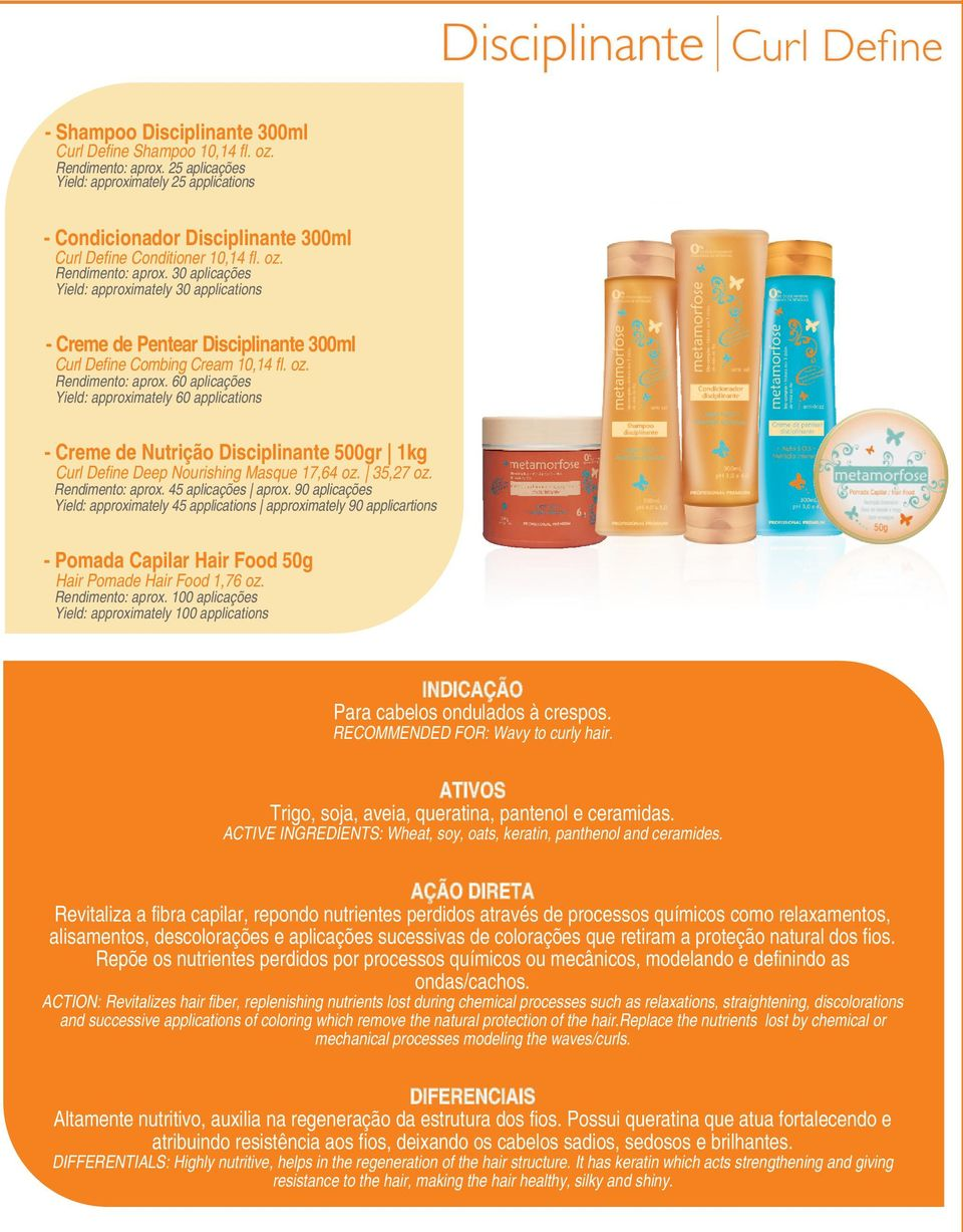 oz. Rendimento: aprox. 60 aplicações Yield: approximately 60 applications - Creme de Nutrição Disciplinante 500gr 1kg Curl Define Deep Nourishing Masque 17,64 oz. 35,27 oz. Rendimento: aprox. 45 aplicações aprox.